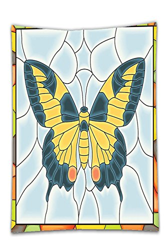 Interestlee Satin drill Tablecloth?Butterflies Decoration Butterfly In Stained-Glass Window With Frame Wing Spring Garden Illustration Dining Room Kitchen Rectangular Table Cover Home (Texas Holdem Stained Glass)