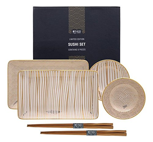 Tokyo Design Studio, Limited Edition, Nippon Gold, Sushi set, Set di 2 piastre + 2 coppe + 2 bastoncini, 6 pz, Porcellana