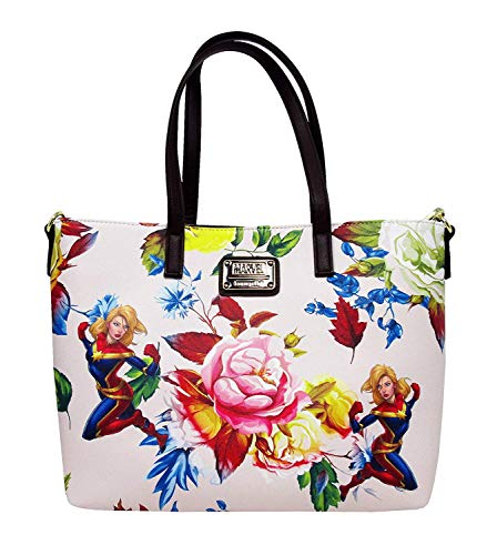 Captain Marvel Floral Print Faux Leather Loungefly Tote Standard