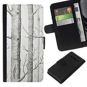 A-type (Tree White Art Pencil Drawing) Colorida Impresión Funda Cuero Monedero Caja Bolsa Cubierta Caja Piel Card Slots Para Samsung Galaxy A3