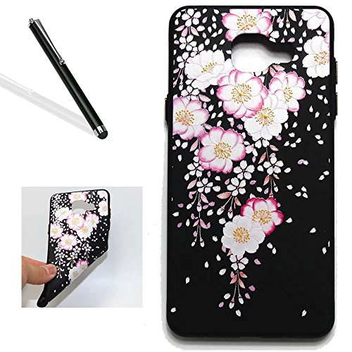 Leecase Cool Creative Pretty Black Noble Pink White Floral Flower Colorful Retro Painted Resist Impact Resist-Scratches Silicone Rubber Bumper Protective Skin Shell for Samsung Galaxy A5 2017