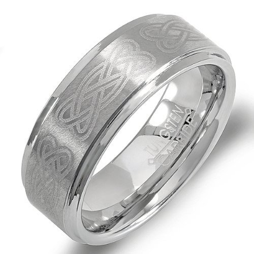 Tungsten Ridged Edge - Dazzlingrock Collection Tungsten Carbide Men's Ladies Unisex Ring Wedding Band 8MM (5/16 inch) Celtic Ridged Edges Laser Engraved Brushed & Polished Comfort Fit (Available in Sizes 8 to 12) size 9