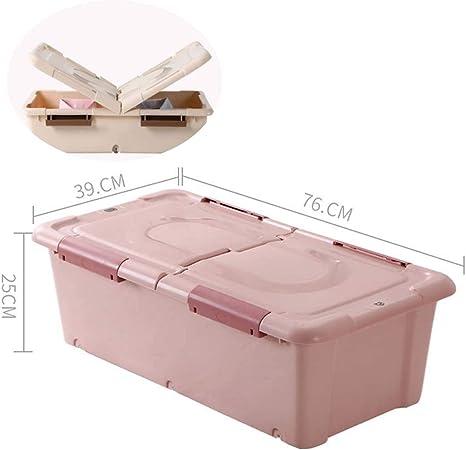 Cajas de almacenamiento con tapas KEKET1 Caja de tapa plegable Ruedas de almacenamiento Clips a prueba de humedad Ruedas Caja de juguetes resistente for medicamentos alimenticios y seguridad en el hog: Amazon.es: