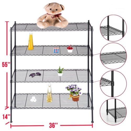Heavy duty wire shelving adjustable 4 tier layer rack steel shelf 55 inch x36 inch x14 inch