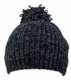 EAB Warm Soft Chenille Knit Slouchy Beret, Stretchy Beanie w/Fuzzy Yarn Pom Pom