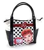 I Love Lucy Polka Dot Large White Tote Handbag, LU814