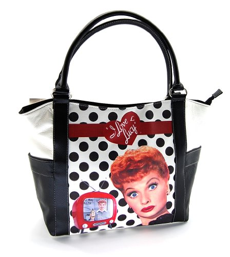 - I Love Lucy Polka Dot Large White Tote Handbag, LU814