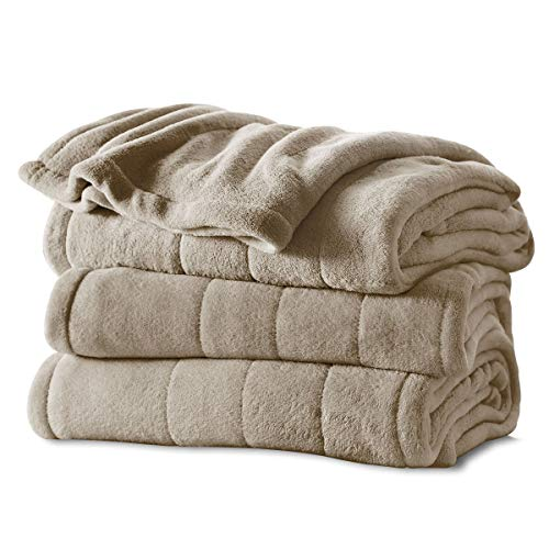 Sunbeam Heated Blanket | Microplush, 10 Heat Settings, Mushroom, Queen