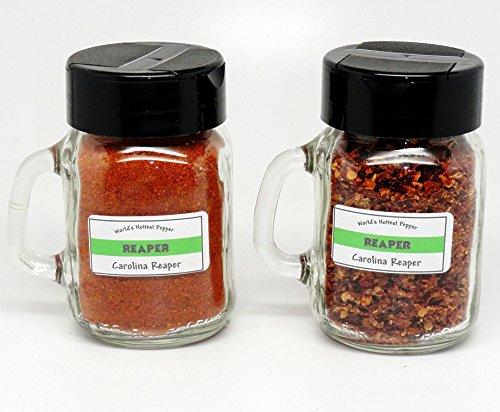 Carolina Reaper Flakes & Powder Combo - World's Hottest Pepper - Gourmet Jars