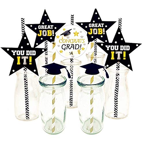 SAKOLLA Class of 2019 Graduation Party Paper Straw Decoration - Graduation Cap Straws Paper for Graduation Party Favors - Set of 42]()