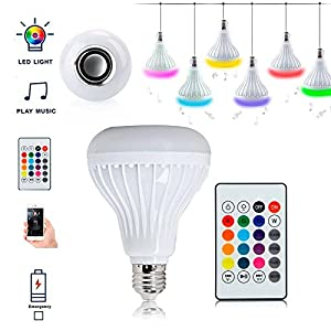 Bluetooth Speaker 12W RGB LED Light Bulb E27 Wireless Music Playing with Remote