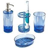 InterDesign Eva Bath Accessory Set, Soap Dispenser Pump, Toothbrush Holder, Tumbler, Soap Dish - 4 Pieces, Ocean