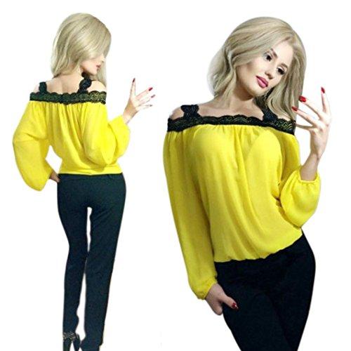 febecool blouse,Women Off Shoulder Long Sleeve Lace Chiffon Shirt Top (Medium, Yellow)