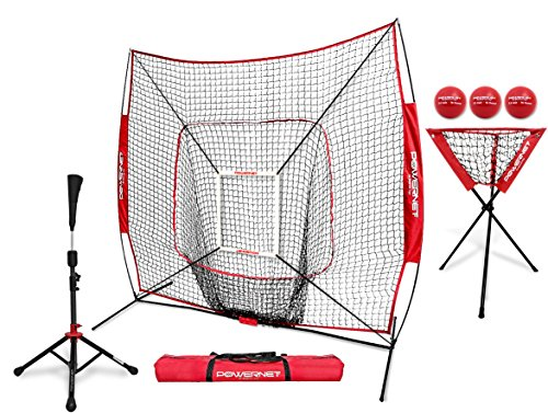 PowerNet 7x7 DLX Practice Net + Deluxe Tee + Ball Caddy + 3 Pack Weighted Ball + Strike Zone Bundle (Red) | Baseball Softball Coach Pack | Pitching Batting Training ()