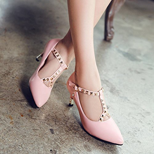 MissSaSa Damen high-heel Pointed Toe T-Spange Pumps mit Nieten und Strass Pink