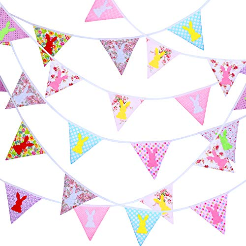 (33 Feet Fabric Banner Bunting 30 Double-sided Triangle Pennant Flags in 10 Different Style Patterns for Holiday Winter Birthday Party Photo Prop (Easter) (Easter))