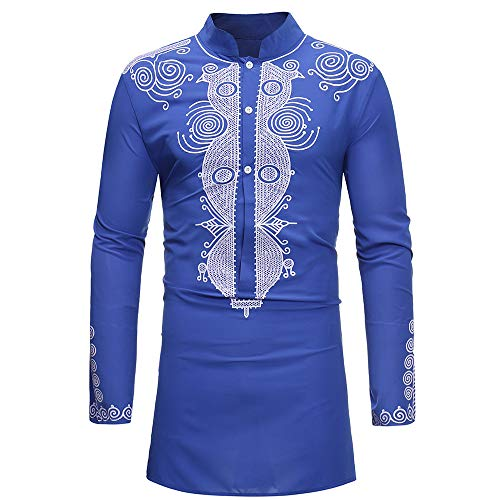 GOVOW Long Sleeve T Shirt Men Autumn Winter Luxury African Print Dashiki Loose Soft Top Blouse(L,Blue)
