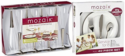 Mozaik Easy Elegant Entertaining Plastic Service for 8 - 48 Pieces Total