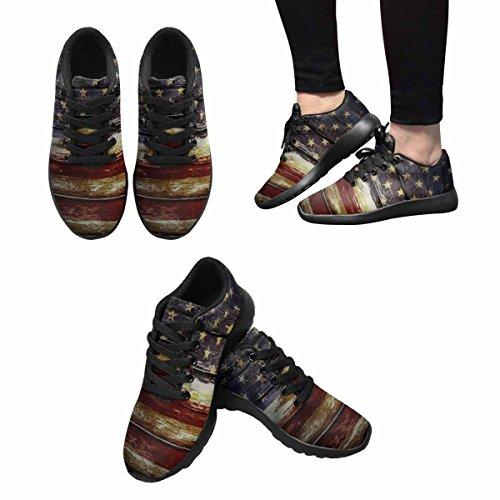 D-story Jogging Running Sneaker Retrò Bandiera Americana Donna Casual Comfort Sport Walking Scarpe Da Corsa Nere