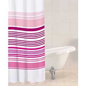 Sabichi Stripe Shower Curtain In Raspberry Home Kitchen