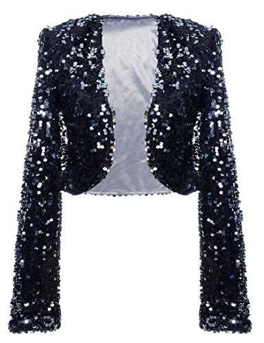 Satin Bolero Stretch - kayamiya Women Sequin Jacket Long Sleeve Sparkly Cropped Shrug Clubwear L/US 10-12 Black Silver
