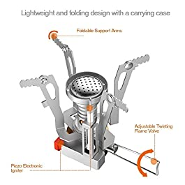 BRAND CENTER Camping Stove Portable Outdoor Backpacking Stove, Ultralight Folding Tripod Collapsible Stoves (Butane Compatible)