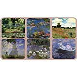 Coasters - Set of 6 Assorted Images by Claude Monet, Cork Backed hardboard
