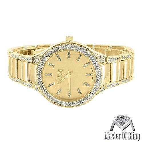 Reloj para Mujer Geneva Platinum Oro de 14 Quilates imitación Diamantes de Laboratorio Resistente al Agua: Amazon.es: Relojes