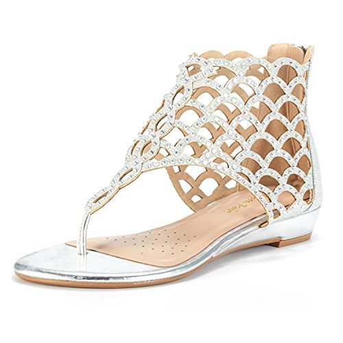 DREAM PAIRS Women's Jewel_08 Silver Rhinestones Design Ankle High Flat Sandals Size 8.5 M US by DREAM PAIRS