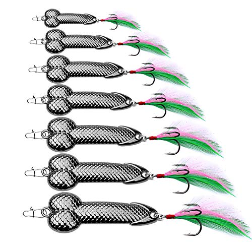 Sunlure Fishing Spoon Lures Metal Jig Lure Cranbait Swimbait Vibrating Jigging Casting Sinker Spoons Spinner Baits with Feather Treble Hooks for Bass