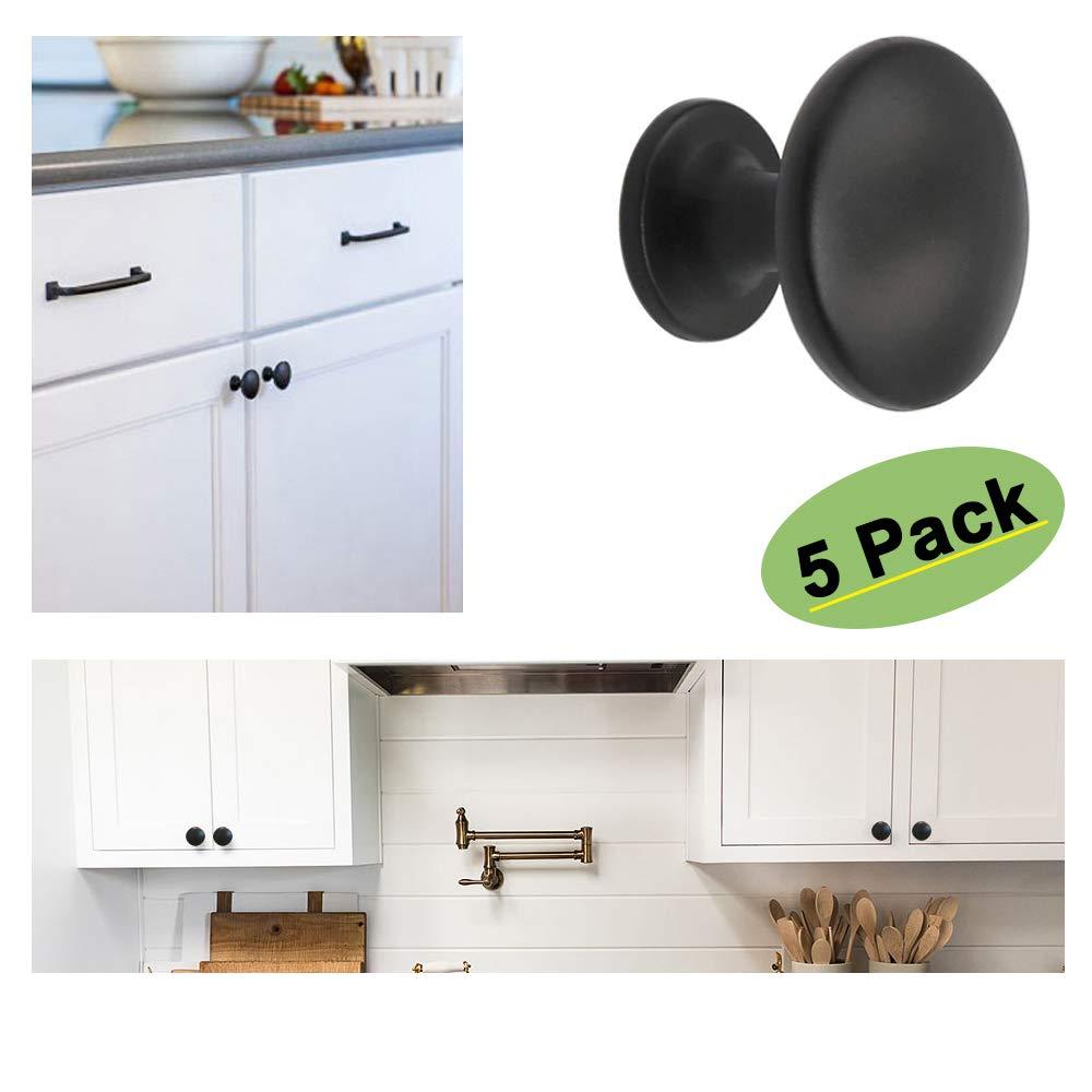 goldenwarm Round Cabinet Knobs Black 5 Pack Knobs for Dresser Drawers - HD6050BK Vintage Cabinet Knobs Black Drawer Knobs for Kitchen, Bathroom, Closet, Wardrobe