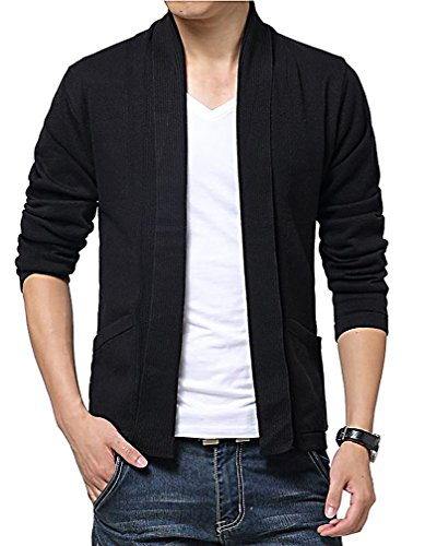 TYLER Men's Knitted Open Cardigan Stylish Slim Thin Casual Sweater, Black X-Large