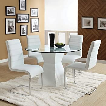 This Item Sumiton Contemporary Style White Finish 5 Piece Glass Top Dining Table Set