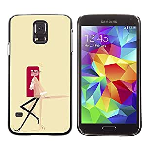 Shell-Star Arte & diseño plástico duro Fundas Cover Cubre Hard Case Cover para SAMSUNG Galaxy S5 V / i9600 / SM-G900F / SM-G900M / SM-G900A / SM-G900T / SM-G900W8 ( Redhead Girl Minimalist Yellow Drawing )