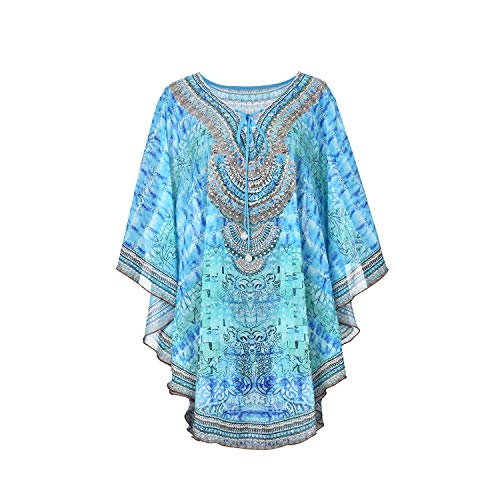 Women's Print Batwing Sleeve Long Top Chiffon Casual Loose Blouse (Free, Blue) ()