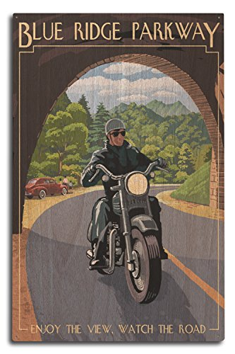 Lantern Press Blue Ridge Parkway, North Carolina - Motorcycle and Tunnel (10x15 Wood Wall Sign, Wall Decor Ready to Hang)