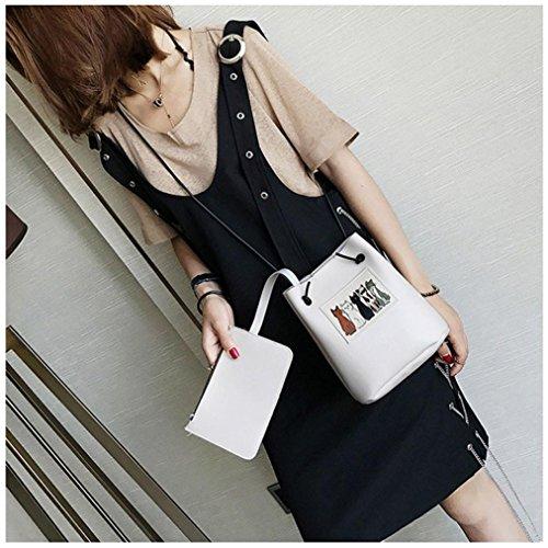 gaddrt de las mujeres Casual bolso de hombro bolsa bolsa bolso de mano 2pcs Set, diseño de piel de gato Cruz Cuerpo Bolso de mano Blanco