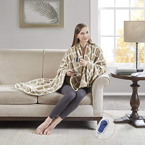 "Beautyrest - Plush Heated Throw Blanket - Secure Comfort Technology -Oversized 60"" x 70""- Tan - Ogee Pattern in White - Cozy Soft Microlight Heated Electric Blanket Throw - 3-Setting Heat Controller"