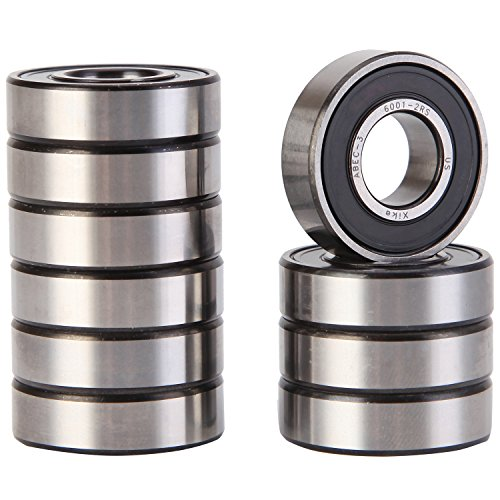 High Precision Bearings - XiKe 10 Pack 6001-2RS Precision Bearings 12x28x8mm, Rotate Quiet High Speed and Durable, Double Seal and Pre-Lubricated, Deep Groove Ball Bearings.