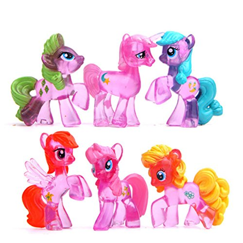 6 Piece Little Pony Toys Figurines Playset, Mini Figure Collection Playset, Cupcake Topper