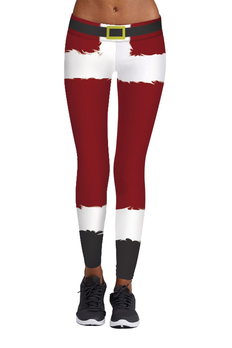 Pink Queen Santa Claus Novelty Christmas Leggings, US S-M, Christmas Pattern 11 by Pink Queen (Image #1)