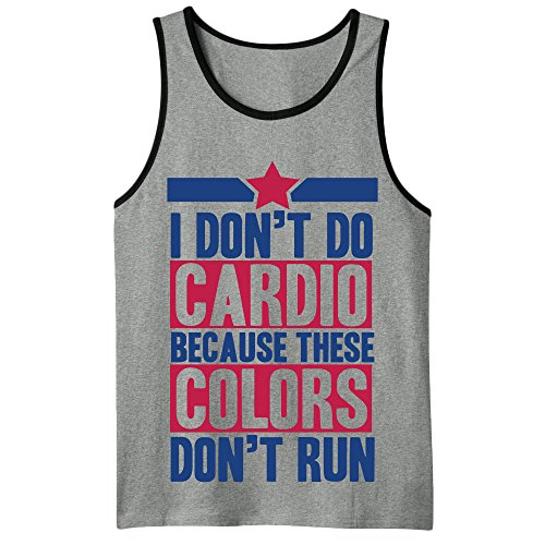 I Don't Do Cardio Because These Colors Don't Run Workout Mens Tank Top Large Heathered Gray (Colors These Shirt Dont Run)