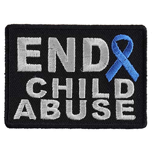 End Child Abuse Blue Ribbon Patch - 2.75x2 inch. Embroidered Iron on Patch Child Abuse Blue Ribbons