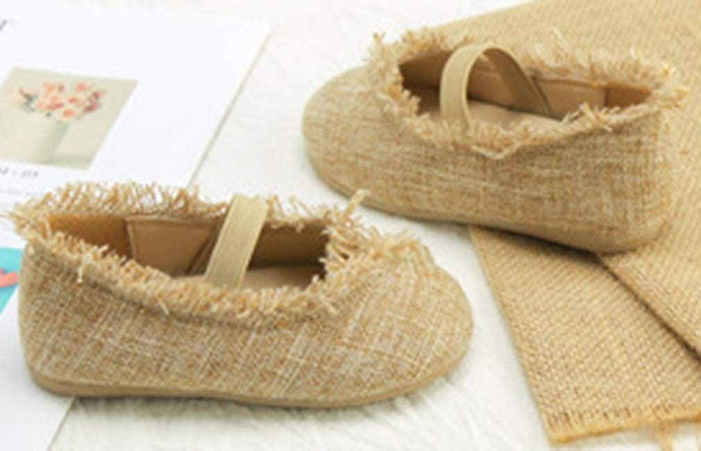 VECJUNIA Girls Mary Jane Flats Linen Shoes with Elastic Nonslip