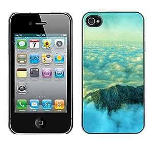 Paccase / SLIM PC / Aliminium Casa Carcasa Funda Case Cover - Nature Beautiful Mountain Clouds - Apple Iphone 4 / 4S
