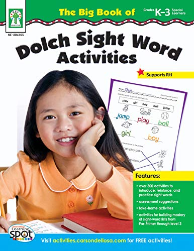 Carson Dellosa The Big Book of Dolch Sight Word Activities Book, Grade K to 3 -