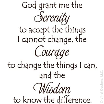 Serenity Prayer Quote Vinyl Wall Decal Sticker Art, Removable Words Home  Decor, Brown, 26in x 29in