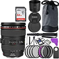 Canon EF 24-105mm f/4L IS USM Lens Bundle with Accessory Kit (17 items)