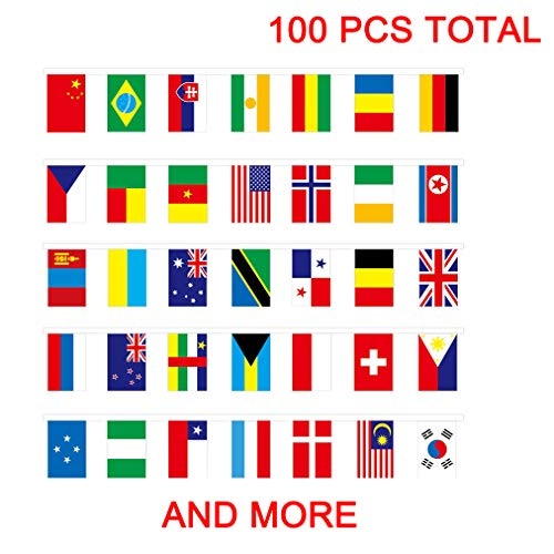 Country Flag Banners (100 Pcs World Flags, International Flags,100 Countries Pennant Banner String National Flags for Classroom Garden Olympics Festival Grand Opening Bar Sports Clubs Party Events)