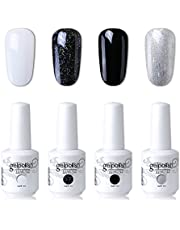 Elite99 UV LED Gel Nail Polish Varnish 15ML Soak off Nail Art Manicure Set 4 Colors with (20pcs Gel Remover Wraps) C174